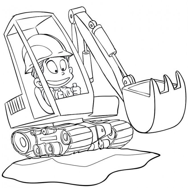 Coloriage et dessins gratuits L'enfant conduit le Bulldozer à imprimer