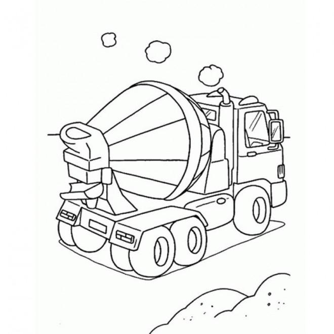 Coloriage et dessins gratuits Un petit Camion bétonnière à imprimer