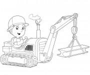 Coloriage Un Petit enfant conduit la tractopelle