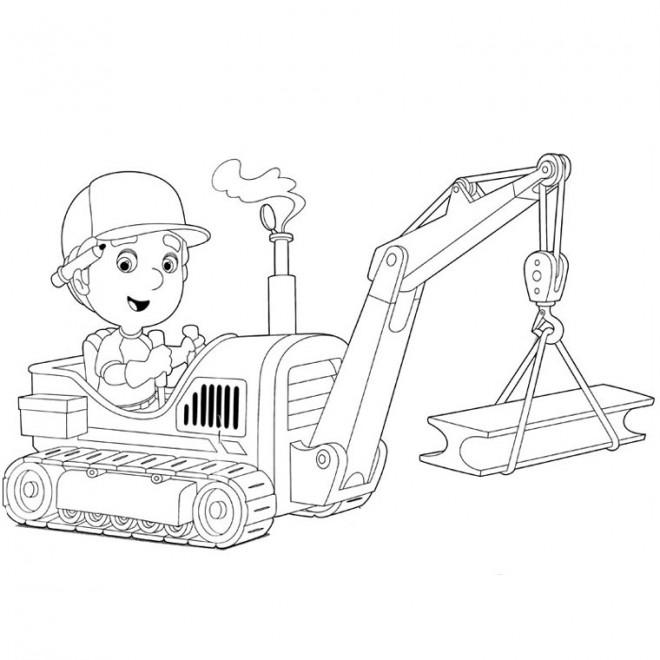 Coloriage et dessins gratuits Un Petit enfant conduit la tractopelle à imprimer