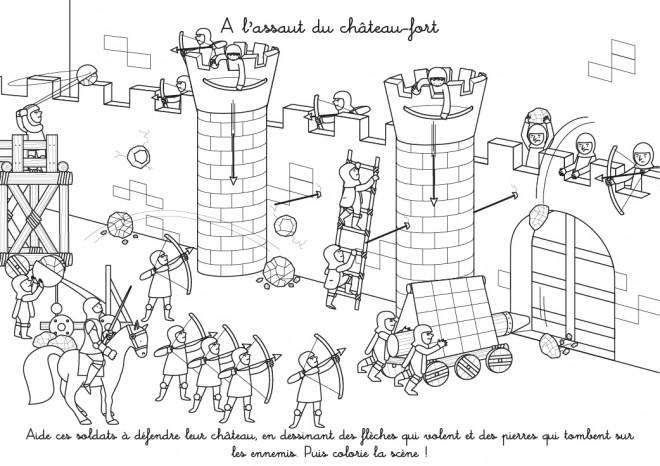 Coloriage Image Chateau.Coloriage A L Assaut Du Chateau Fort Dessin Gratuit A Imprimer