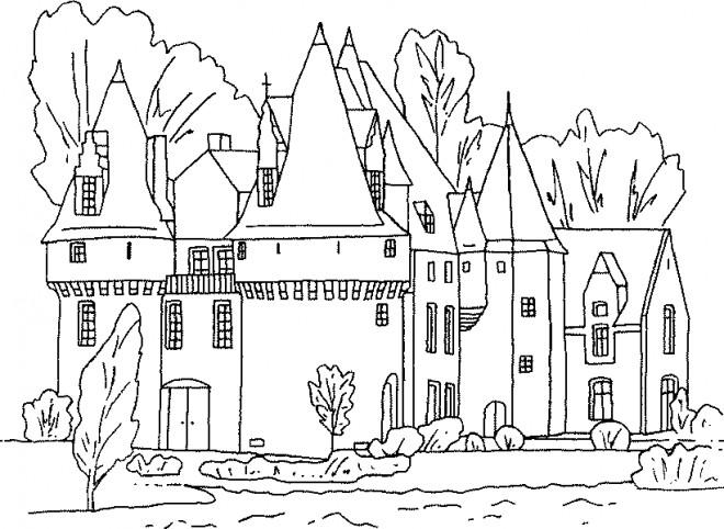 Coloriage Château à Colorier Dessin Gratuit à Imprimer
