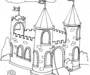 Coloriage et dessins gratuit château à découper à imprimer