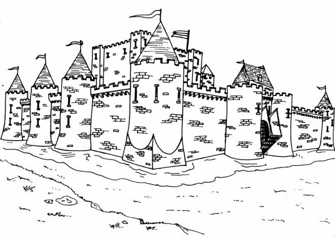 Coloriage et dessins gratuits Château bien protégé à imprimer