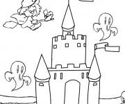 Coloriage et dessins gratuit château de sorcière à imprimer