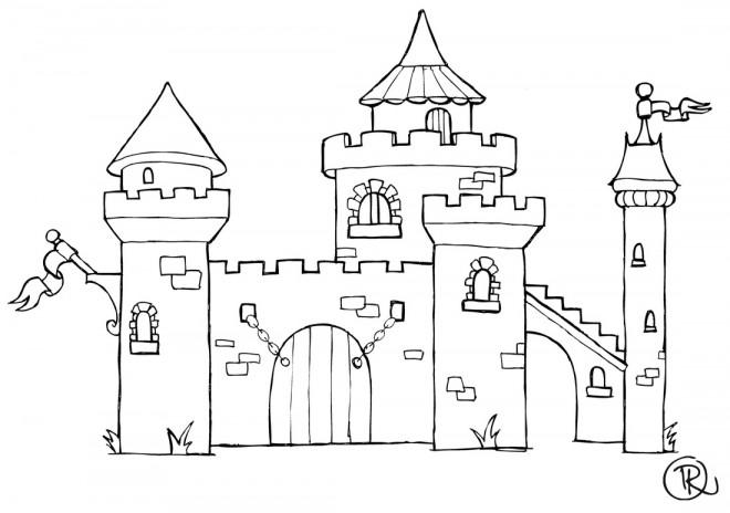 Coloriage En Ligne Gratuit Chateau.Coloriage Chateau En Ligne Dessin Gratuit A Imprimer