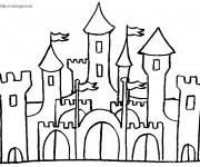 Coloriage et dessins gratuit château en noir et blanc à imprimer