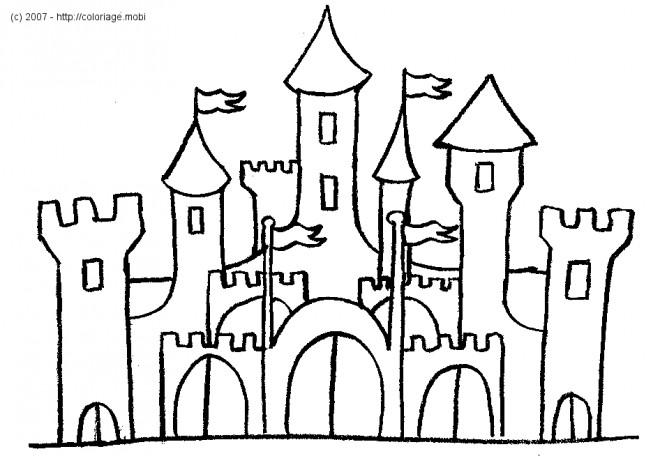 Coloriage et dessins gratuits château en noir et blanc à imprimer