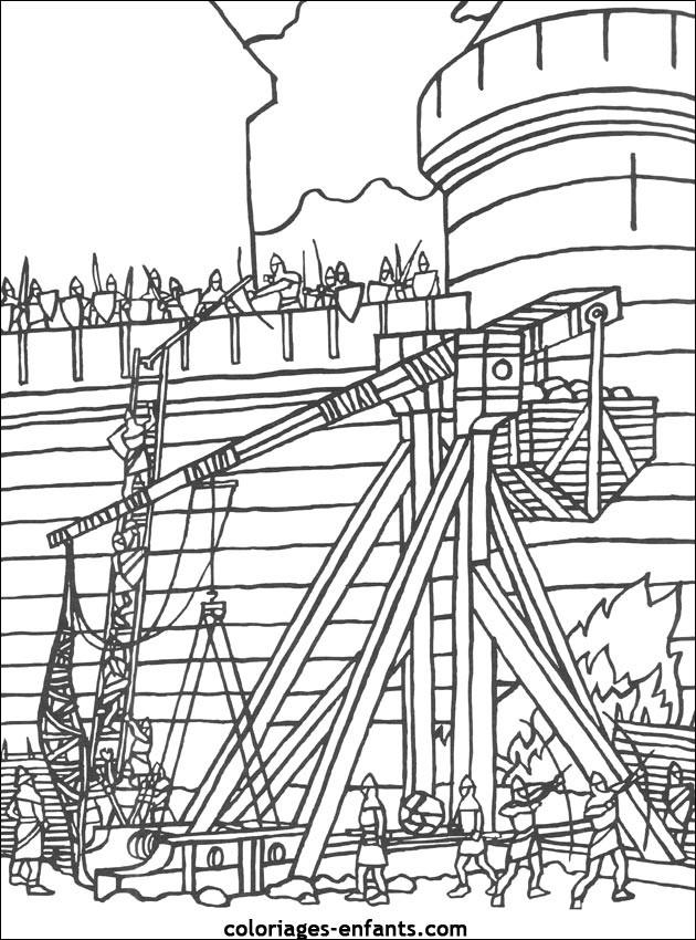 Coloriage et dessins gratuits Château et Bataille à imprimer
