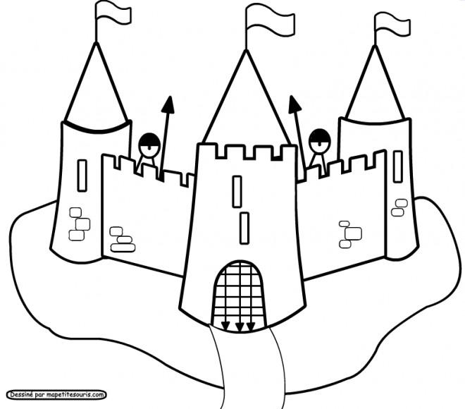 Coloriage et dessins gratuits Château et ses gardes à imprimer