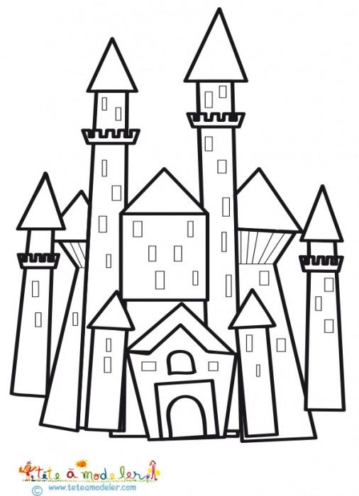 Coloriage et dessins gratuits Château facile en vecteur à imprimer