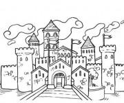 Coloriage et dessins gratuit château fort à imprimer