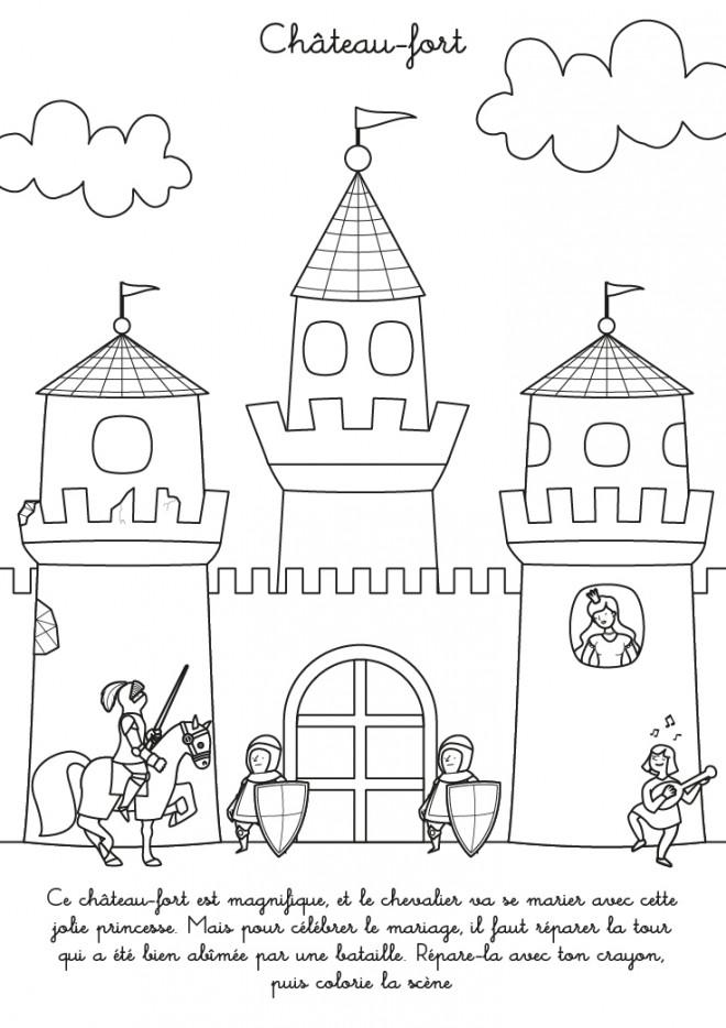 Coloriage ch teau fort dessin gratuit imprimer - Coloriage de chateau ...