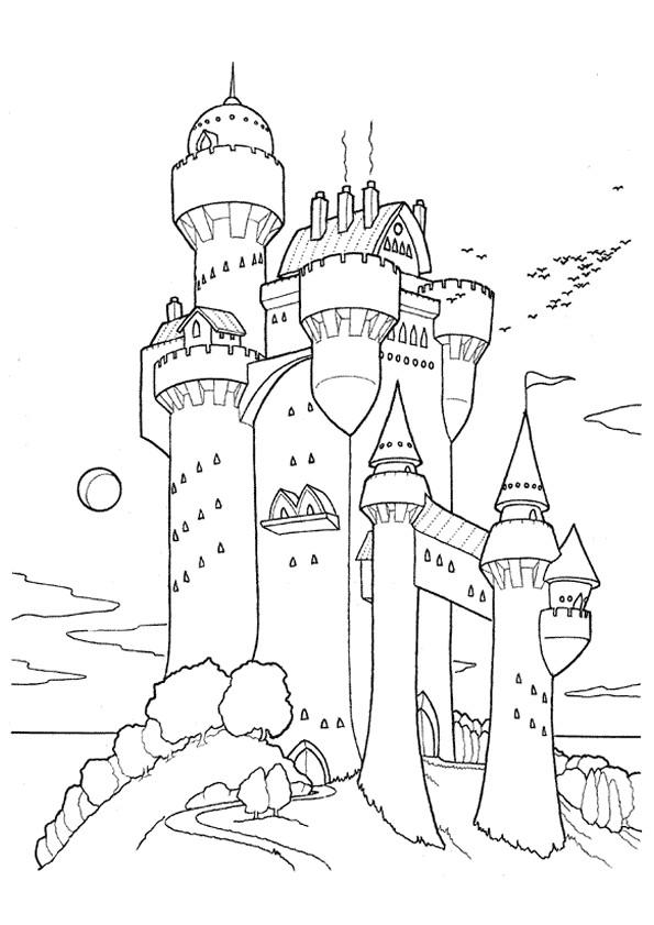 Coloriage Chateau Fort Sur La Montagne Dessin Gratuit A Imprimer
