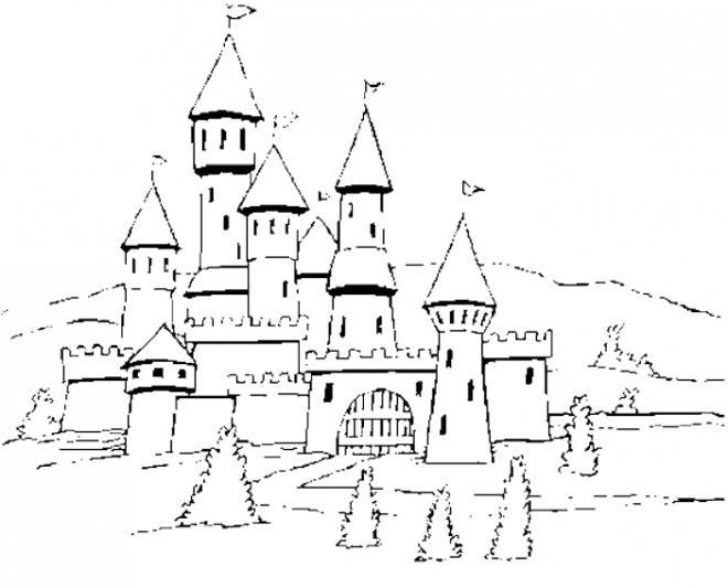 Coloriage et dessins gratuits château médiéval à imprimer