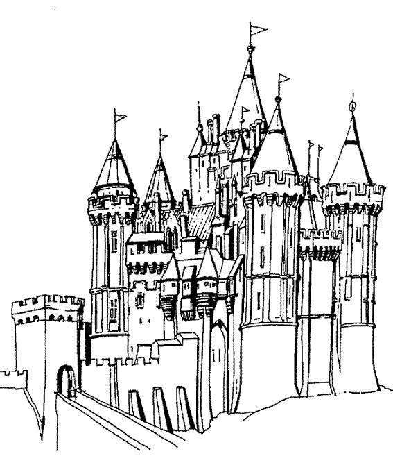 Coloriage et dessins gratuits château médiéval Fort à imprimer