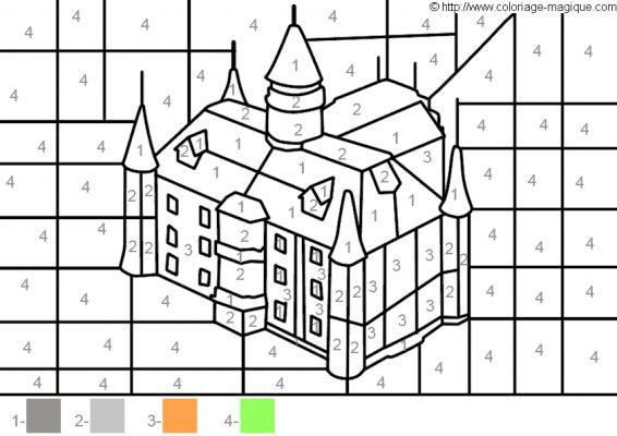 Coloriage et dessins gratuits Château Numéros et Couleur à imprimer