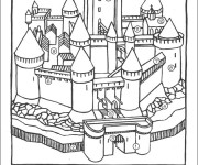 Coloriage et dessins gratuit château numéroté à imprimer