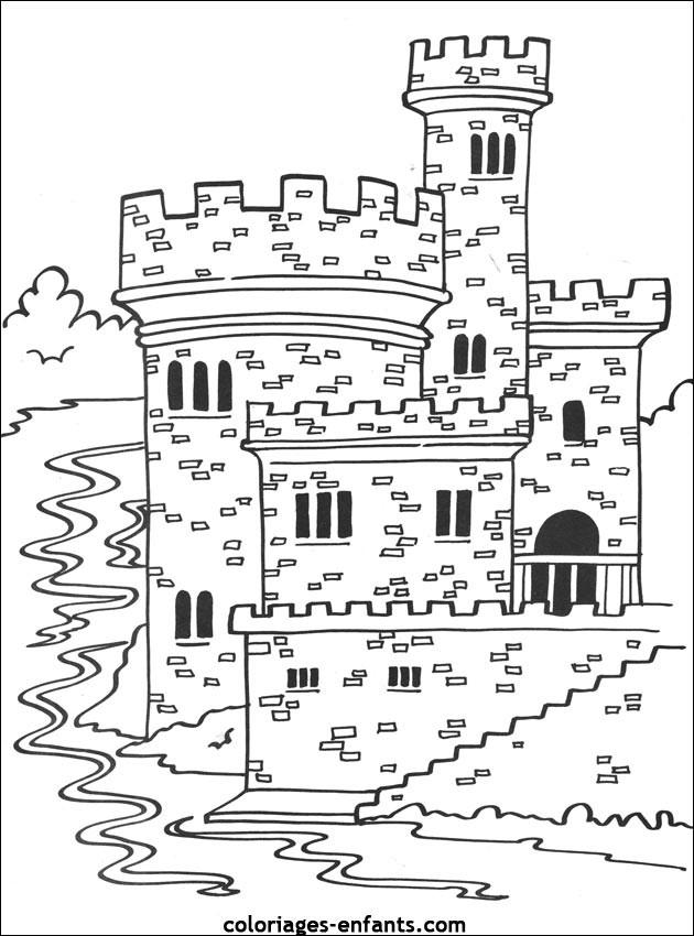 Coloriage et dessins gratuits château pour enfant à imprimer