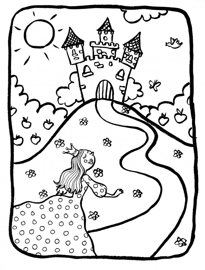 Coloriage Grand Chateau.Coloriage Chateau Princesse Dessin Gratuit A Imprimer