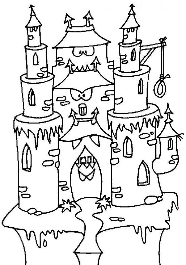 Coloriage et dessins gratuits château qui fait peur à imprimer