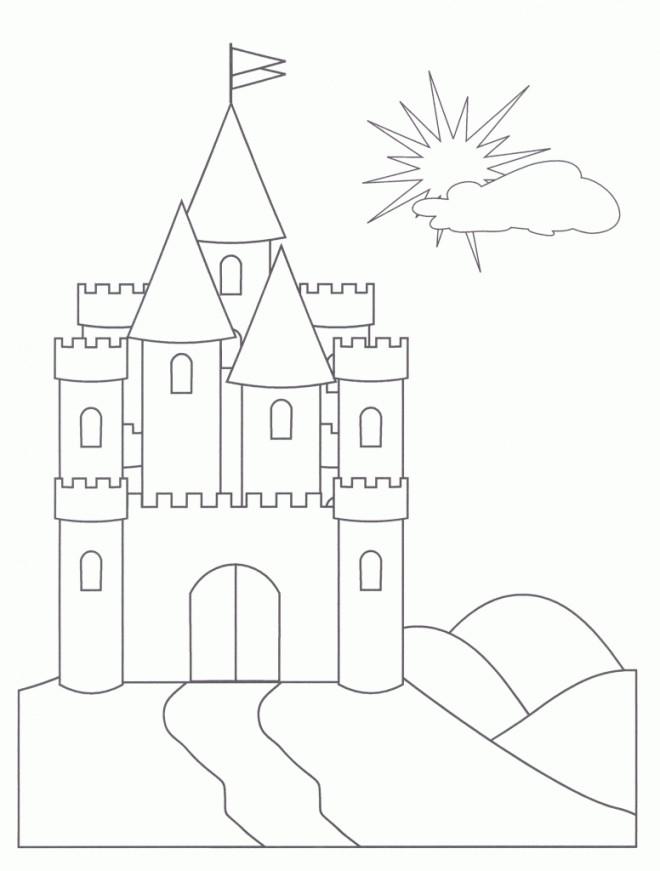 Coloriage et dessins gratuits Château simple pour enfant à imprimer