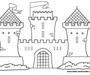 Coloriage et dessins gratuit château stylisé à imprimer