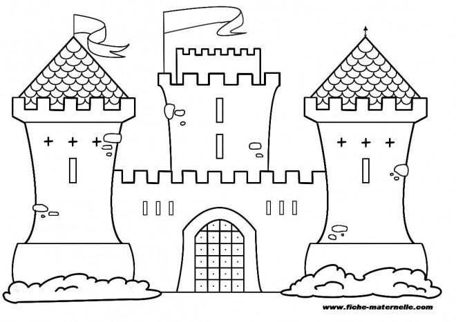Coloriage Grand Chateau.Coloriage Chateau Stylise Dessin Gratuit A Imprimer