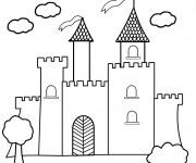 Coloriage et dessins gratuit château vecteur à imprimer