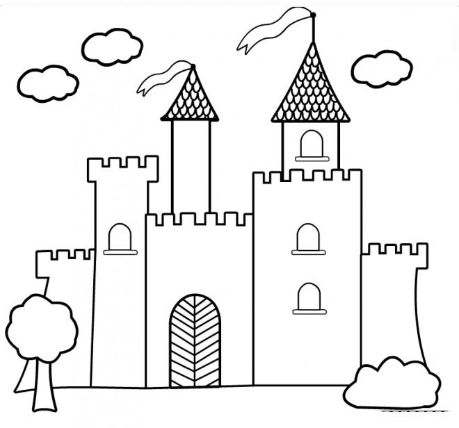 Coloriage En Ligne Chateau.Coloriage Chateau Vecteur Dessin Gratuit A Imprimer