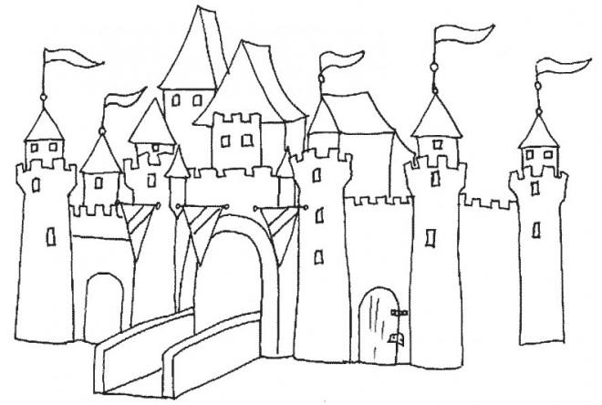 Coloriage et dessins gratuits Châteaux au crayon à imprimer