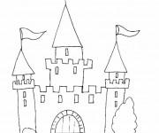 Coloriage et dessins gratuit châteaux simple à imprimer
