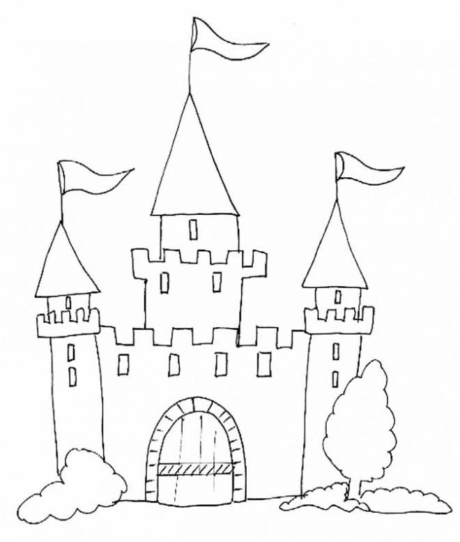 Coloriage et dessins gratuits châteaux simple à imprimer