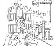 Coloriage Chevalier près de son château