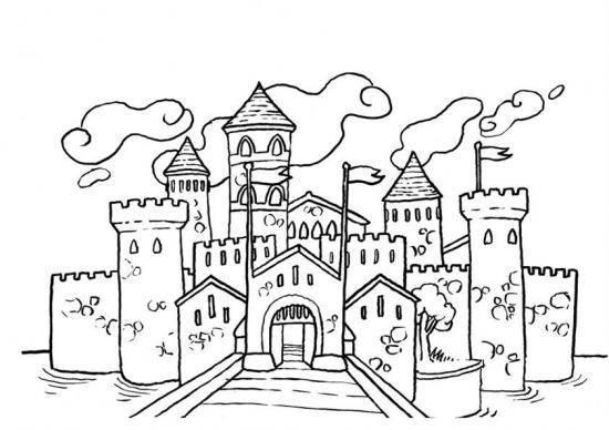 Coloriage En Ligne Chateau.Coloriage Dessin Chateau Fort Dessin Gratuit A Imprimer