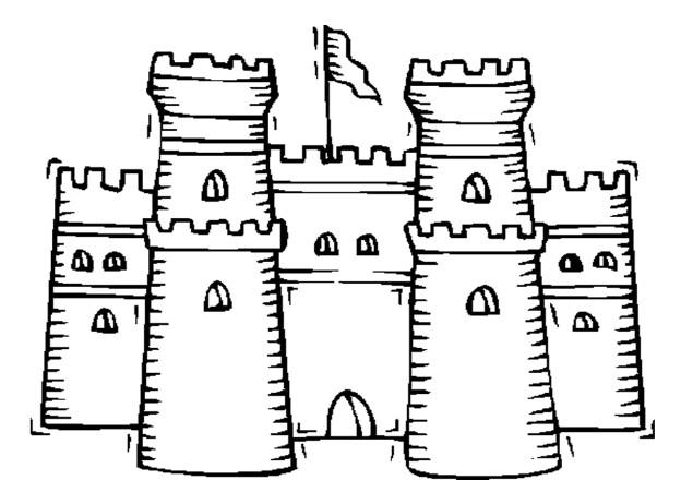 Coloriage et dessins gratuits Façade d'un petit château à imprimer