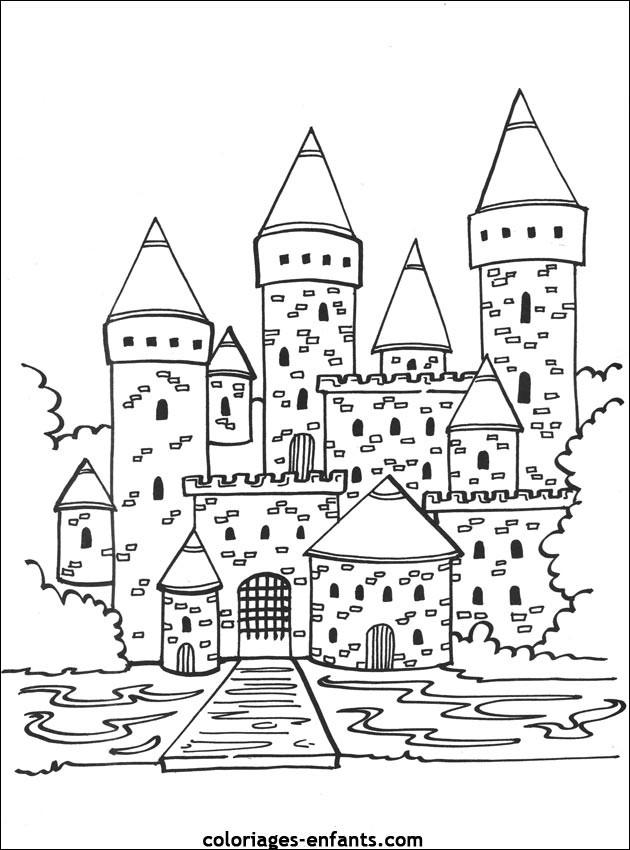 Coloriage et dessins gratuits Façade de Château à colorier à imprimer