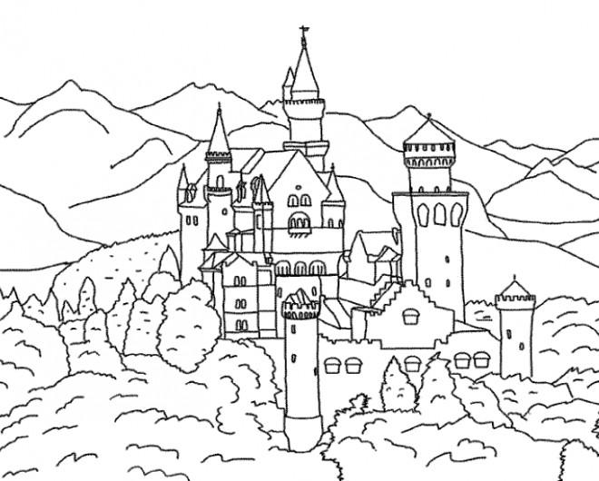 Coloriage Grand Chateau.Coloriage Grand Chateau De Roi Dessin Gratuit A Imprimer