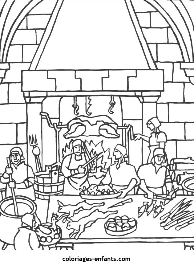 Coloriage et dessins gratuits La Fête dans Le Château à imprimer