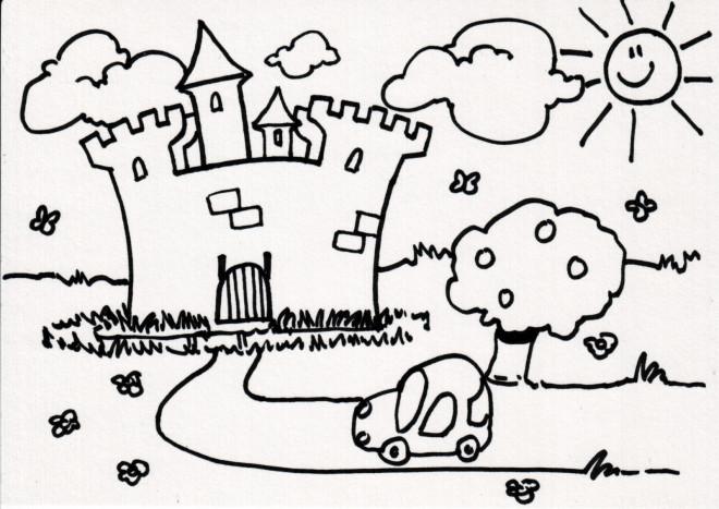 Coloriage et dessins gratuits La Voiture se dirige ver Le Château à imprimer