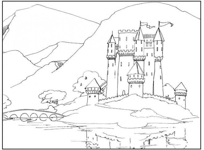 Coloriage et dessins gratuits Paysage de Châteaux à imprimer