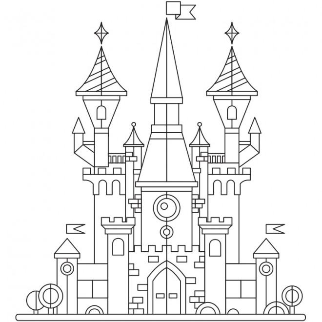Coloriage et dessins gratuits Un beau Château stylisé à imprimer