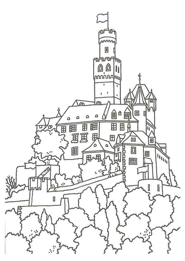 Coloriage un grand ch teau en france dessin gratuit imprimer - Coloriage chateau de princesse ...