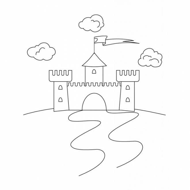 Coloriage et dessins gratuits Un petit château simple à imprimer