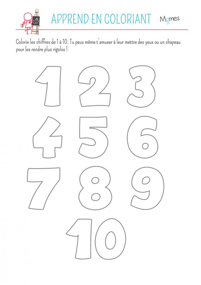 Coloriage et dessins gratuits Apprend Les Chiffres en coloriant à imprimer