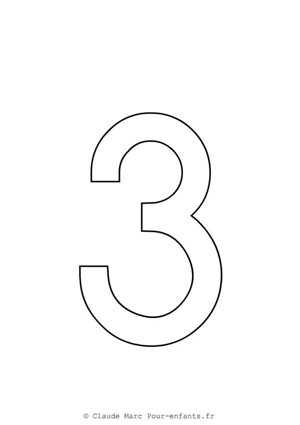 Coloriage Chiffre 3 simple dessin gratuit à imprimer