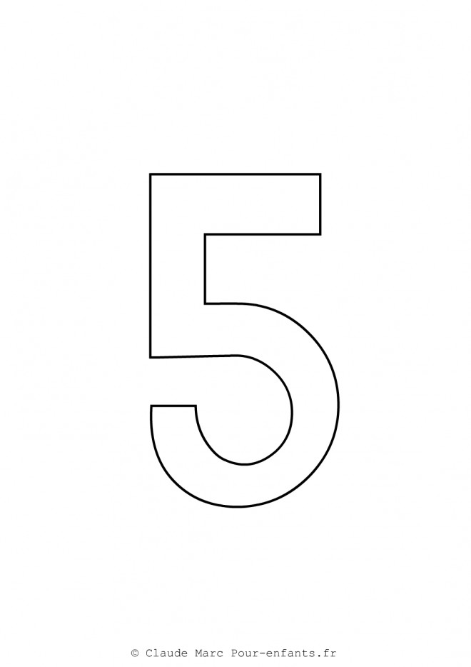 Coloriage et dessins gratuits Chiffre Cinq à imprimer
