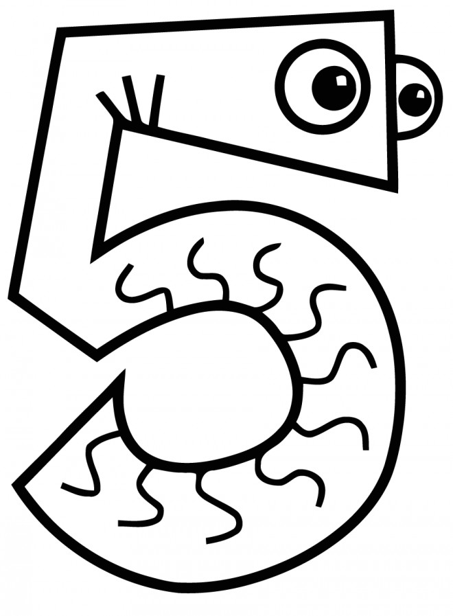 Coloriage et dessins gratuits Chiffre Cinq pour enfant à imprimer