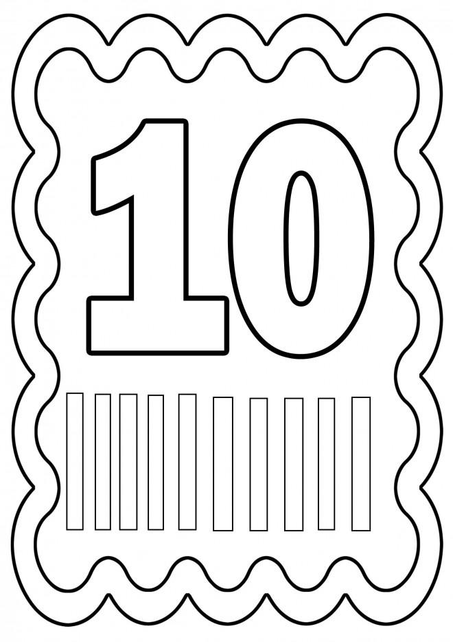 Coloriage Chiffre Dix à découper dessin gratuit à imprimer