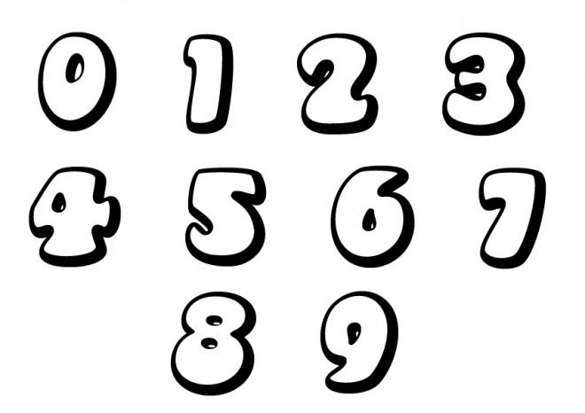 Coloriage chiffres en noir et blanc dessin gratuit imprimer - Chiffre a imprimer gratuit ...
